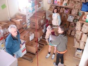 Helping at local food bank